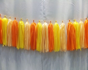 12 Tissue Paper Tassel Garland - Party Decor - Wedding Decoration - Birthday Decor - Photo Booth Prop - Backdrop - Christmas