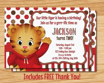 Daniel Tiger's Neighborhood Birthday Invitation, Daniel Tiger Birthday, Daniel Tiger Invitation, Daniel Tiger's Neighborhood Invitation