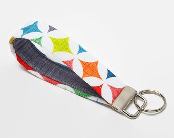 Fabric Key Fob, Key Chain, Handmade Wristlet Strap - Bright Geometric Diamonds