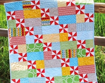 "Playful Quilt Pattern #150 - New Little Pattern by Cluck Cluck Sew - Size 38"" x 45.5"" - Beginner Friendly Pattern (W2065)"