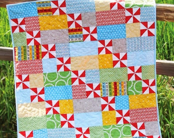 "Playful Quilt Pattern #150 - New Little Pattern by Cluck Cluck Sew - Size 38"" x 45.5"" - Beginner Friendly Pattern (W2065)"