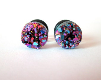 Pruple Druzy Sparkle Plugs - Available in 4g, 2g, and 0g