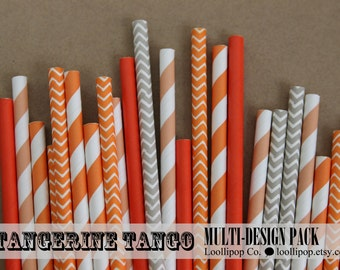 Multi design party straw set - TANGERINE TANGO - orange, dark peach, bright orange & gray assorted pattern straws - 25pcs in 5 designs