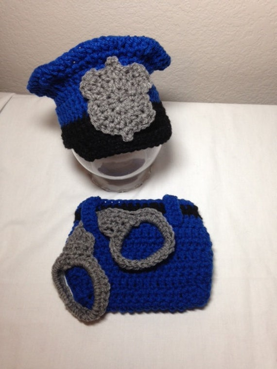 Crochet baby cop police officer uniform hat by ...