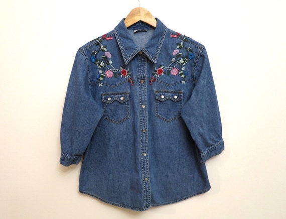 Vintage Women Blue Denim Shirt Hipster Grunge Jean Jacket