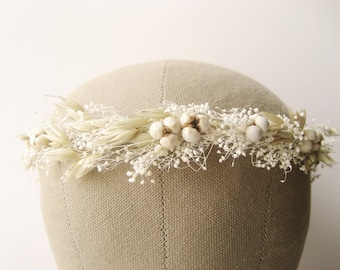Rustic wedding hair accessories, Baby's breath flower crown, Bridal headpiece, Floral headband, Natural wreath - PRAIRIE