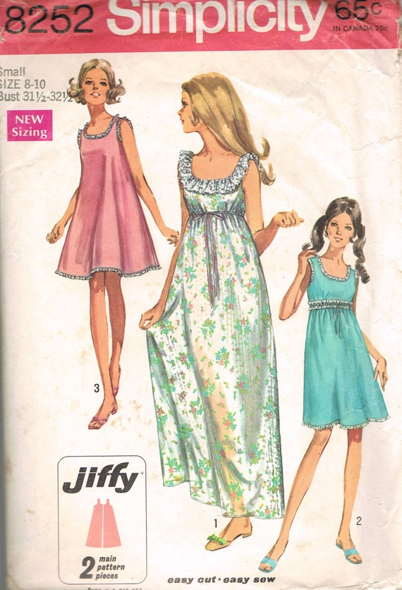 "Size 8&10 Vintage 60s Misses"" Baby Doll Nightgown In 2 Lengths Jiffy Simplicity Sewing Pattern 8252 Sizes 8 10"