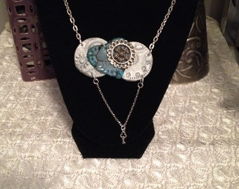 Unique Steampunk Inspired statement necklace with hand made polymer clay charm in turquoise