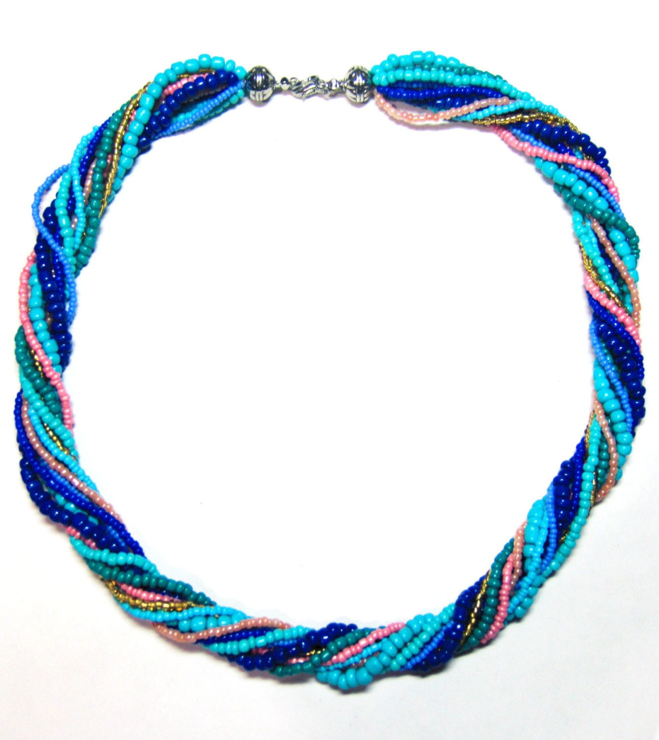 multi strand seed bead necklace blue twisted necklace