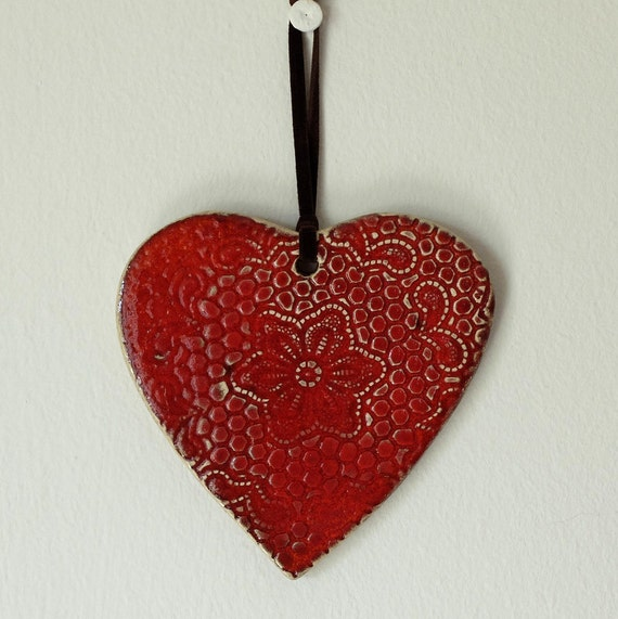 Heart Shape Red Color Wall D 233 Cor Wall Hanging Ceramic
