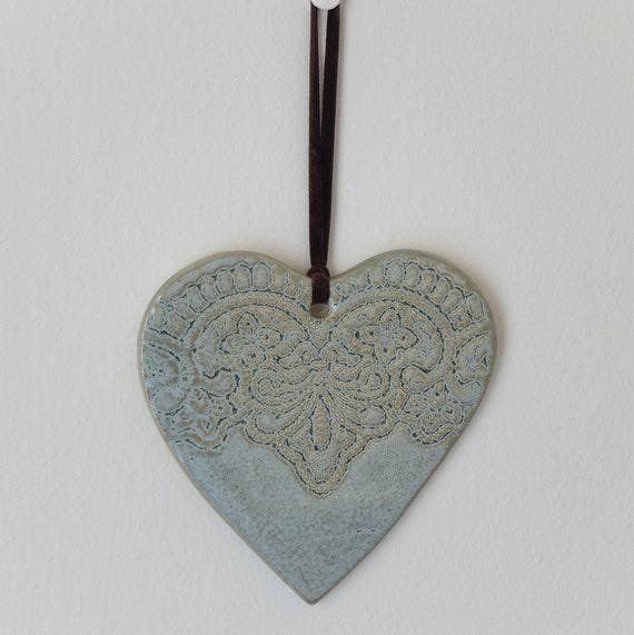 Decorative Wall Hanging Hearts : Heart shape gray color wall d?cor hanging ceramic