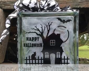 HAPPY HALLOWEEN - Haunted House - Halloween Vinyl Lettering for Glass Blocks - Craft Decals