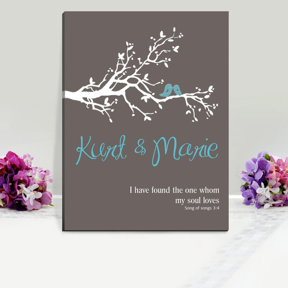 Personalized Wedding Canvas: Personalized Reception Wedding Canvas Print Song Of Songs