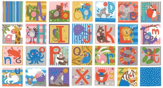 Animal abc fabric panel childrens abc block panel from abc for Childrens animal fabric