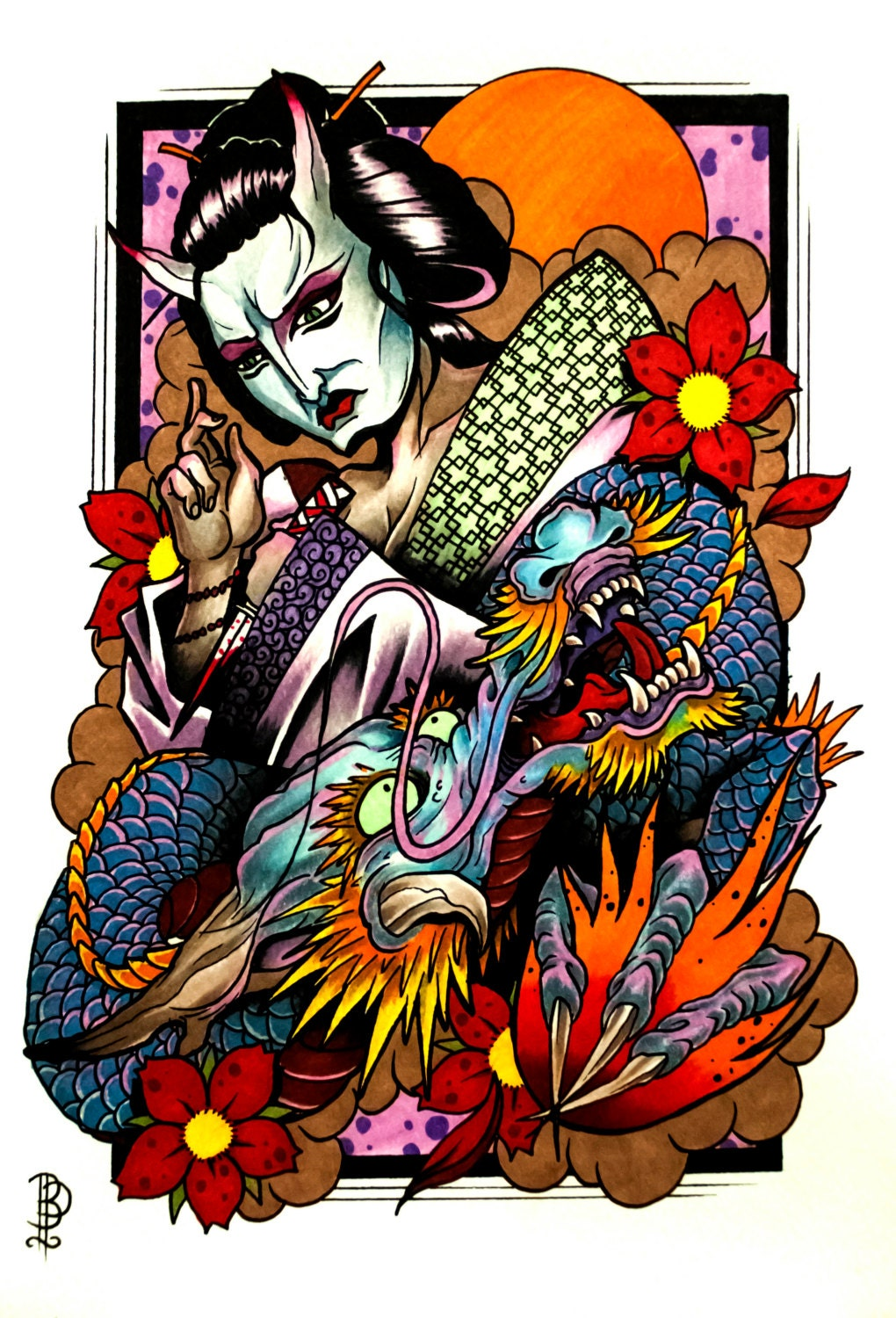 dragon and the demon geisha tattoo flash print by. Black Bedroom Furniture Sets. Home Design Ideas