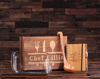 4pc Gift Set Personalized Holiday Christmas with 4pc Bamboo Kitchen Utensils Spoons, Recipe Book, 1 L. Baking Dish (024615)
