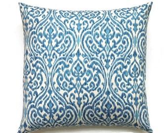 Blue Ikat Pillow Cover , 18x18 Pillow Cover, Decorative Pillows, Accent Designer Modern Pillow Covers, Indigo Pillow, Srilanka Indigo