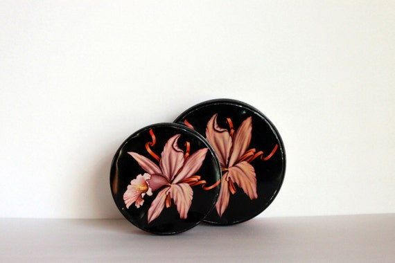 vintage tins round sewing tins // pink orchids // metal round tins // olive can co.