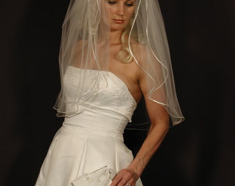 "wedding veil  2 layer 30"" long elbow length with satin ribbon corded 1/8"""