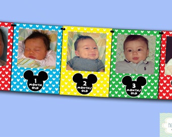 Mickey Mouse Clubhouse First Year Photo Banner / 12 Month Banner / Mickey Mouse First Birthday Party - FILE to PRINT DIY