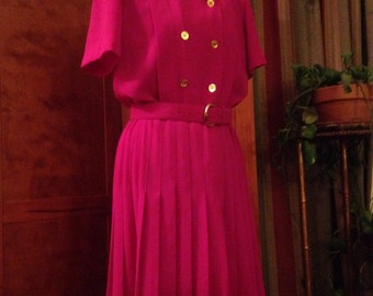 Beautiful Eighties Fuchsia Double Breasted Dress by Liz Claiborne