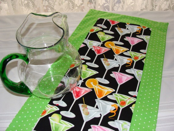 Happy Hour Cocktail Print Table Runner