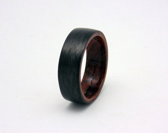 Carbon Fiber and wood ring with bentwood Waterfall Bubinga