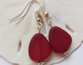 Red Beach Glass Earrings, Red Seaglass Earrings, Red Seaglass Jewelry, Red Sea Glass Earrings. Sterling Silver Option. FREE SHIPPING