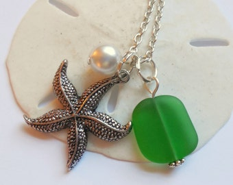 Kelly Green Sea Glass Necklace, Charm necklace, Pearl, Starfish Necklace, bridesmaid necklace, beach wedding. FREE SHIPPING within the U.S.
