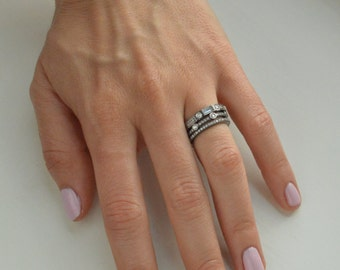 Set of 3 Bands, Gunmetal Stack, Stacking Rings, Wedding Bands, Stone Ring, Cubic Zirconia Ring