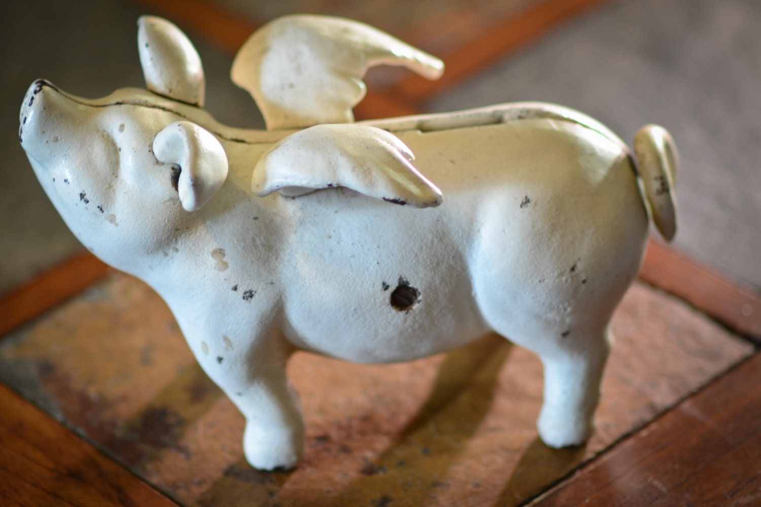 Antique Cast Iron Flying Pig Bank