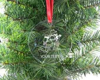 Personalized Custom Fire Fighter, Fireman Clear Acrylic Christmas Tree Ornament