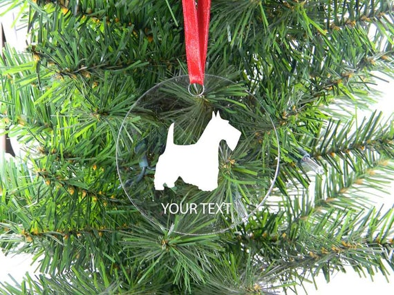 Personalized Custom Scottish Terrier Clear Acrylic Christmas Tree Ornament