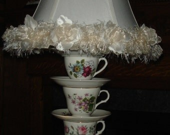 Teacup Lamp made from Vintage Teacups