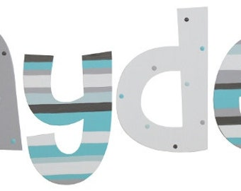 Wooden Turquoise and Gray Letters / Cheri Font
