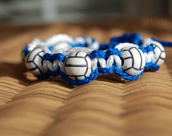 Royal Blue and White Volleyball bracelet