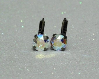 Aurora Borealis Swarovski Crystal Drop Earrings - Handcrafted Beautiful Multi-Color Metallic Crystals - 8mm Dangle Earrings