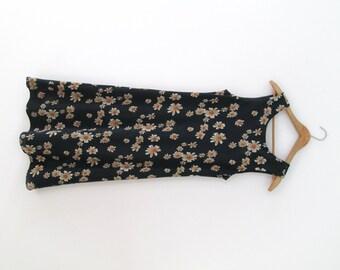 90's black daisy dress.grunge.midi length.long dress.maxi dress. size S/M