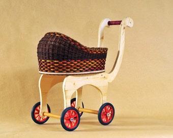 Doll Carriage Big Design, Wicker doll buggy, Doll pram, Doll stroller, Toy, Children; Cradle