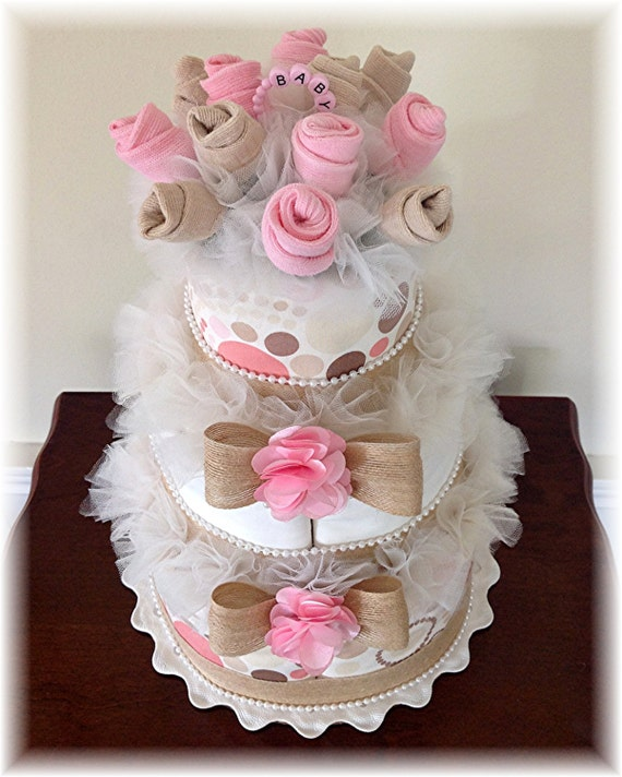 Items similar to 3 Tier Baby Sock Bouquet Burp Cloth Cake