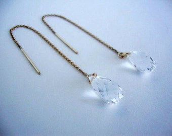 Clear Swarovski Crystal Gold-Filled Threader Earrings - Handmade Jewelry - Bridal Earrings - Bridesmaid Earrings - Minimalist Jewelry