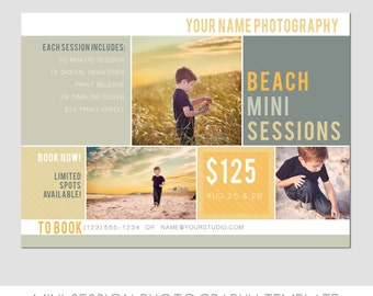 Mini Session Postcard - Photography Template - Flyer - Beach Minis - Kids - 5x7 - Minis - Photoshop - Elements - Easy