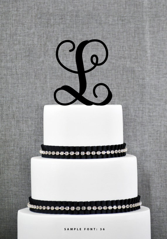 Personalized Monogram Initial Wedding Cake Toppers Letter L