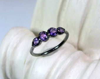 Amethyst Gemstone Ring Oxidized Sterling Birthstone Band, Made to Order, February Birthday