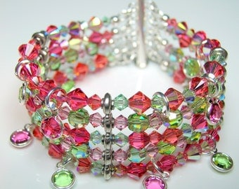 Indian Pink and Peridot Crystal 5 Strand Bracelet