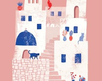 Santorini, Greece // A4 art print