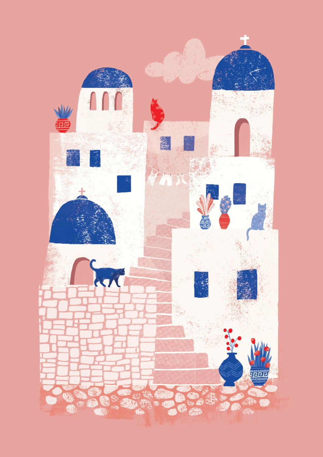 santorini greece      a4 art print by essillustration on etsy