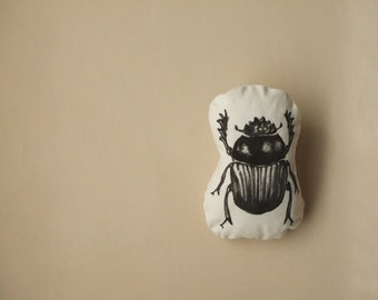 beetle insect plush rustic throw pillow for the cabin hand painted stuffed soft toy woodland home decor