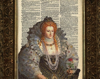 Queen Elizabeth on Antique Dictionary Page, art print, Wall Decor, Wall Art Mixed Media Collage, Gift