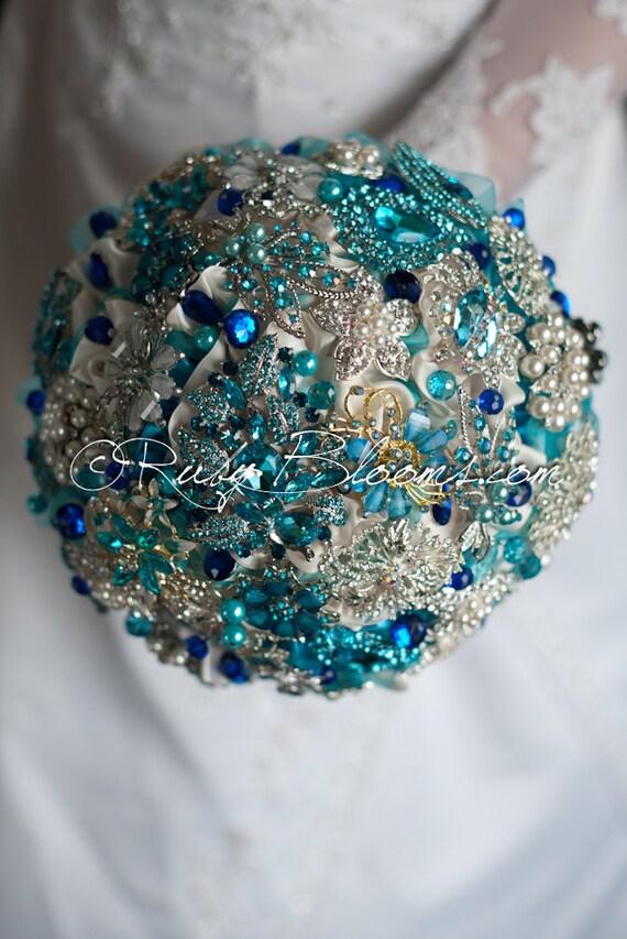 Silver Blue Jewelry Wedding Brooch Bouquet By Rubybloomscom